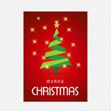Merry Chrsimtas with red background and tree. For web design and application interface, also useful for infographics. Vector illustration Royalty Free Stock Photography