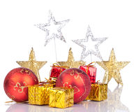 Merry chrsitmas. Christmas background -shiny stars, red balls, golden gifts Royalty Free Stock Photography