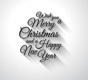 Merry Chrstimas Retro Typography slogan with long shadows Stock Images