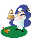 Merry cook. Jolly fat chef with a large cake, flying crow with cream in its beak and a sad cat Stock Photography