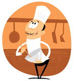 Merry cook with a rolling pin. Chef with a rolling pin Stock Illustration