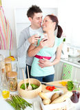 Merry couple drinking wine in the kitchen Royalty Free Stock Photo