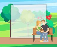 Merry Couple Sits on Bench Tenderly Holding Hands. Heart shape balloon near them vector in green park near trees, rural landscape, frame for text Stock Photo