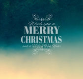 Merry Crhistmas Typography over a delicate nature backgroun Stock Photos