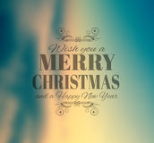 Merry Crhistmas Typography over a delicate nature backgroun Royalty Free Stock Photography