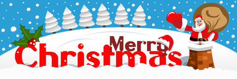 Merry Crhtistmas banner Santa Claus chimney snowy landscape Stock Images