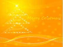 Merry cristmas. Card with a cristmas tree in orange Royalty Free Stock Photos