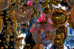 Merry Cristmas!. Festive red and gold ornaments on a Christmas tree Royalty Free Stock Images
