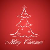 Merry Cristmas card. Greeting card with stylized Christmas tree Royalty Free Stock Image