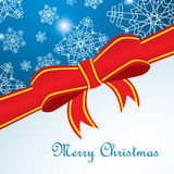 Merry Cristmas card with snowflake and red ribbon. On square Royalty Free Stock Photo