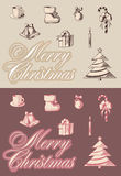 Merry cristmas emblems. Set of New Year's attributes Stock Photos