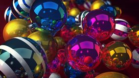 Shining New Year Dazzling Baubles. A merry 3d illustration of sparkling glass baubles for a Christmas fir tree. They soar over a green floor and lead to a Stock Photo