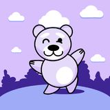 Dancing bear on the lawn. A merry dancing bear in a clearing of purple hue Royalty Free Stock Image