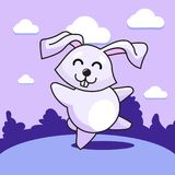 Merry dancing bunny. Cheerful joyful bunny dancing in the clearing. Violet shades Stock Photo