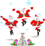 Merry dancing Santa Claus Stock Photos