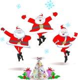 Merry dancing Santa Claus Stock Photos