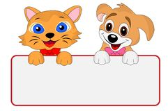 Merry dog and cat hold a clean banner Stock Photos