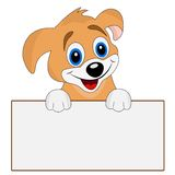 Merry dog holds a clean banner. Vector illustration Royalty Free Stock Images