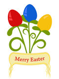 Merry Easter. Colorful Easter Eggs stylized of bouquet of flowers with greetings ribbon Stock Image