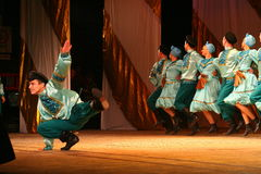 Merry festive Russian folk dances. choreography in the style of the folk holiday Maslenitsa. Royalty Free Stock Image