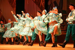 Merry festive Russian folk dances. choreography in the style of the folk holiday Maslenitsa. Stock Photography