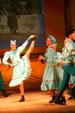 Merry festive Russian folk dances. choreography in the style of the folk holiday Maslenitsa. Stock Image