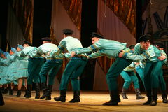 Merry festive Russian folk dances. choreography in the style of the folk holiday Maslenitsa. Stock Images