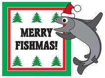 Merry Fishmas. A cartoon fish in a Christmas cap is excited about celebrating the season Stock Image