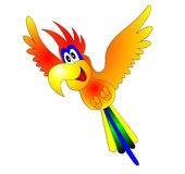 Merry flying parrot Royalty Free Stock Image