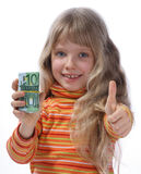 A merry girl 2. A merry girl holds a money Royalty Free Stock Images