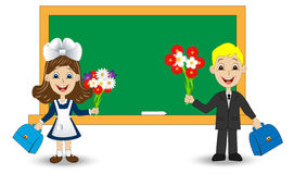 Merry girl and boy with bouquets of flowers on the school Board Royalty Free Stock Images