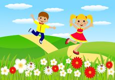 Merry girl and boy hurry on a path Stock Photo