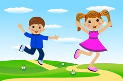 Merry girl and boy hurry on a path. Vector illustration Royalty Free Stock Photography