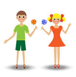 Merry  girl and boy  with lollipop Royalty Free Stock Photography