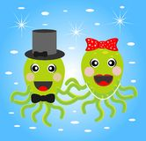 Merry girl and boy octopuses Stock Photography