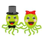 Merry girl and boy octopuses Stock Photos