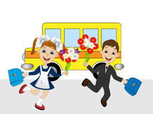 Merry girl and boy running to school Stock Photo
