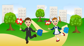 Merry girl and boy running to school Stock Image