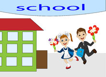 Merry girl and boy running to school Royalty Free Stock Photography