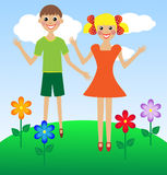 Merry  girl and boy in summer on lawn Stock Photos