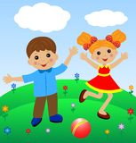 Merry  girl and boy in summer on lawn Stock Images