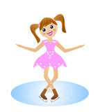 Merry girl  goes for a drive in beautiful dress on skate. Vector illustration Stock Image