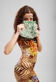 Merry girl with a handbag. royalty free stock photo