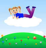 Merry girl lie on cloud Royalty Free Stock Photo