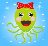 Merry girl octopus with a bow. On a blue background, ial illustration Stock Image
