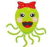 Merry girl octopus with a bow. On a white background, vectorial illustration Stock Photo