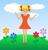 Merry  girl in summer on lawn Royalty Free Stock Photos