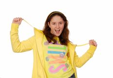 Merry girl is in yellow  clothes. Royalty Free Stock Photography