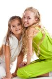 Merry girls on white background Royalty Free Stock Image