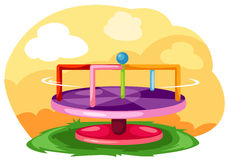 Merry-Go-Round. Illustration of landscape playground merry-go-round Stock Photo